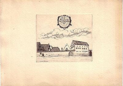 Erfurt Thüringen Waisenhaus Orig Radierung 1920 Sinnspruch