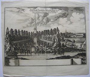 Feuerwerk Festung Pleissenburg 1667 Leipzig Sachsen Orig Kupferstich 1677