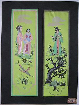 Art Deco Dekoration Geishas im Grünen Orig Pochoir um 1925 Wandbemalung