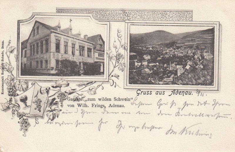 AK Adenau Gasthof zum weilden Schwein Ahrweiler gel 1902 Bahnpost Rheinland