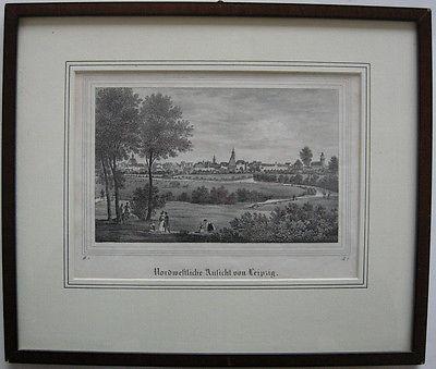 Leipzig Sachsen Gesamtansicht Nordwesten Orig Lithografie 1836