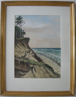 Hermann Westphal (1885-1954) Ostsee Steilküste Rügen (?) Orig Aquarell 1930