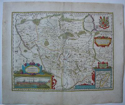 Osnabrück altkolor Orig Kupferstichkarte Hondius 1627 Nordrhein Westfalen