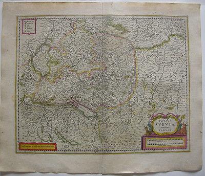 Württemberg altkolor Orig Kupferstich Janssonius Amsterdam, 1635 Bodensee