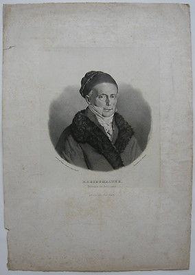 H. C. Schumacher (1780-1859) Astronom Geodät Orig. Lithografie Ausborn 1850
