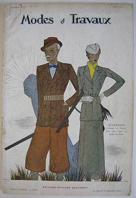 Modes et Travaux Modekatalog Art Deco 1933 Reklame Mode Kleidung