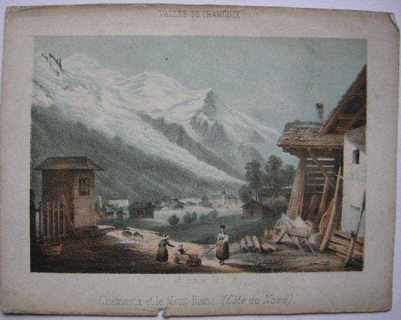 Chamonix  Mont Blanc Alpen Frankreich France Orig Lithografie Cuvillier 1850