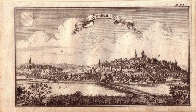 Landau an der Isar Bayern Niederbayern Orig. Kupferstich Merian 1680