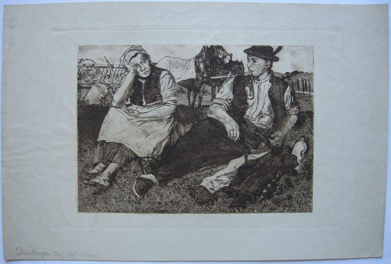 Joseph Damberger Orig Radierung Bauernpaar Rast Feldarbeit 1899