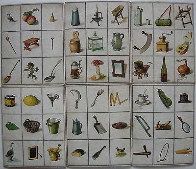 Lernspiel 12 Anschauungstafeln Pflanzen Tiere Gegenstände Lithografien 1880