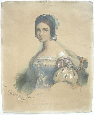 Henri Grevedon (1776-1860) Portrait Jeanne Gray Königin England Lithogr 1830