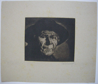 Rudolf Pauschinger (1882-1957) Herrenportrait Orig Aquatinta 1930 sign