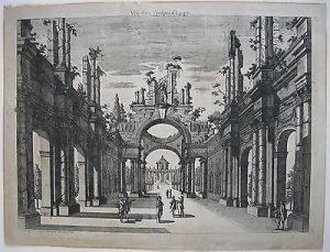 Georg Christoph Kilian Vue d'un Prospet d'Egypte Orig Kupferstich 1760