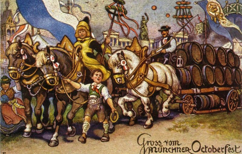 AK Gruß Oktoberfest München Bierwagen Festgespann Mü Kindl ungel 1926