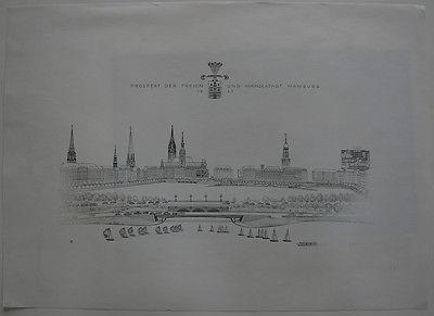 Prospekt Hansestadt Hamburg Orig Lithographie A. Friedrich 1965 signiert