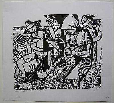 Clement Moreau Baumwollernte Orig Linolschnitt signiert ca. 1960