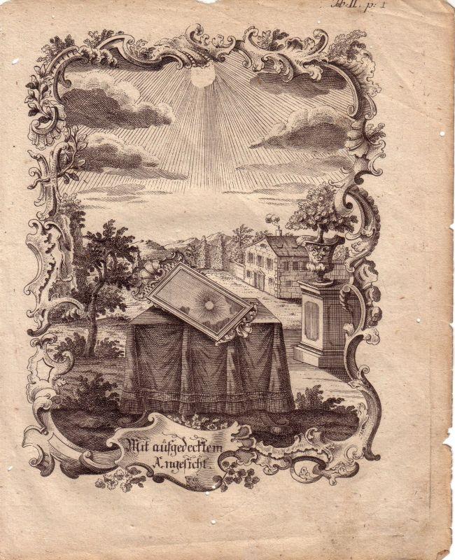 Emblem Kupferstich 1762 Ornamentrahmen Sinnspruch Sonne im Spiegel