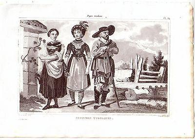 Österreich Tiroler Trachten Kostüme Orig Stahlstich 1850 Couché