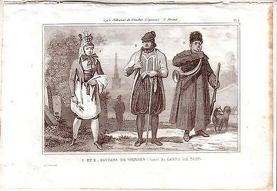Wenden Sachsen Trachten Kostüme Orig Stahlstich 1850 Pardinel Nachtwächter