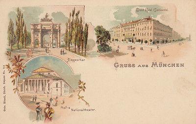 AK München Siegesthor Hotel Continental Nationaltheater Litho 1900