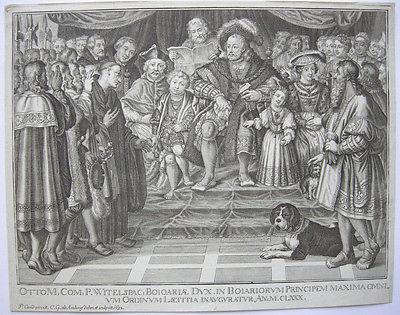 K. G. Amling (1695-1705)  Otto Bayern Huldigung Stände Kupferstich 1698 Candid