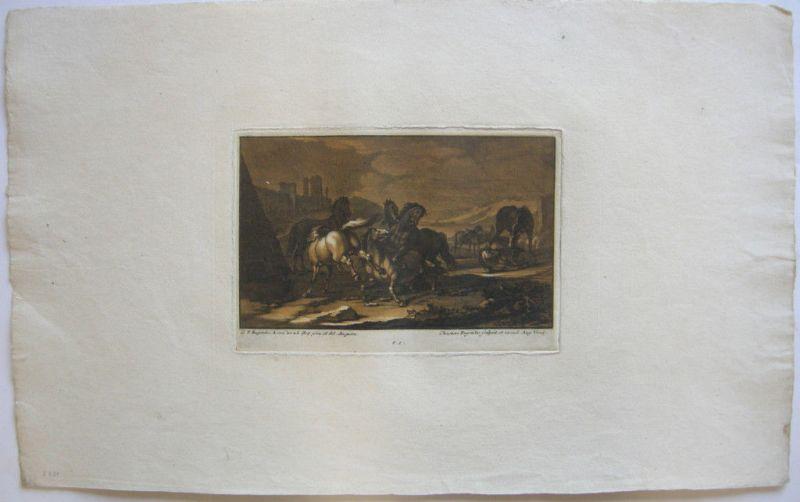 Christian Rugendas Kämpfende Pferde Mezzotino 1725