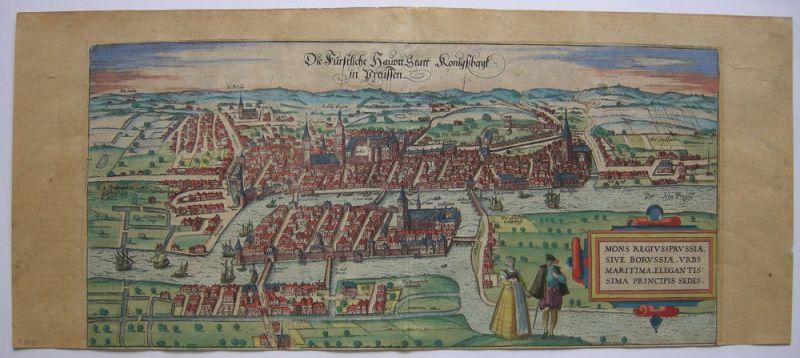 Königsberg Kaliningrad Russland altkolor Orig Kupferstich Braun Hogenberg 1580