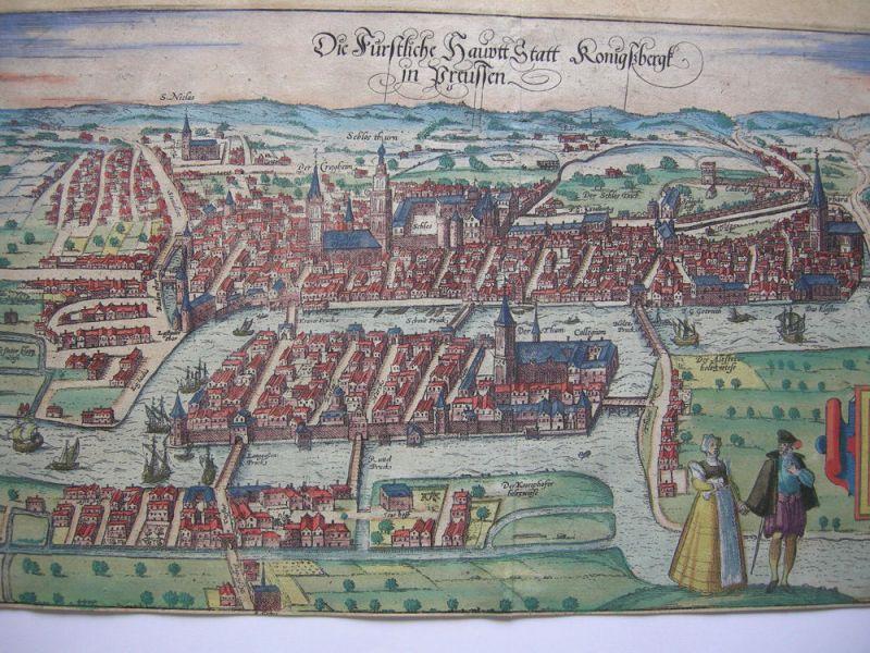 Königsberg Kaliningrad Russland altkolor Orig Kupferstich Braun Hogenberg 1580 1