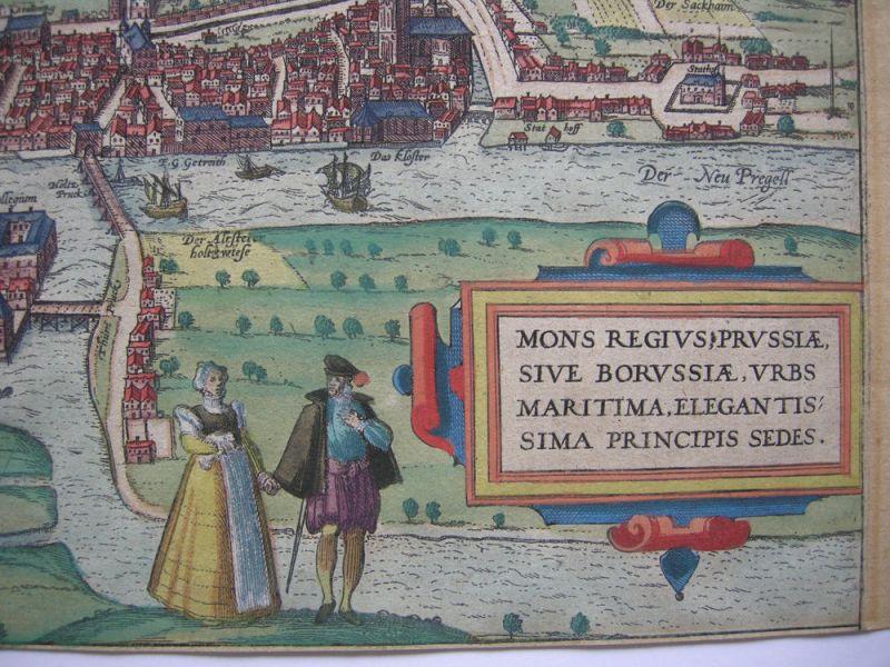 Königsberg Kaliningrad Russland altkolor Orig Kupferstich Braun Hogenberg 1580 2