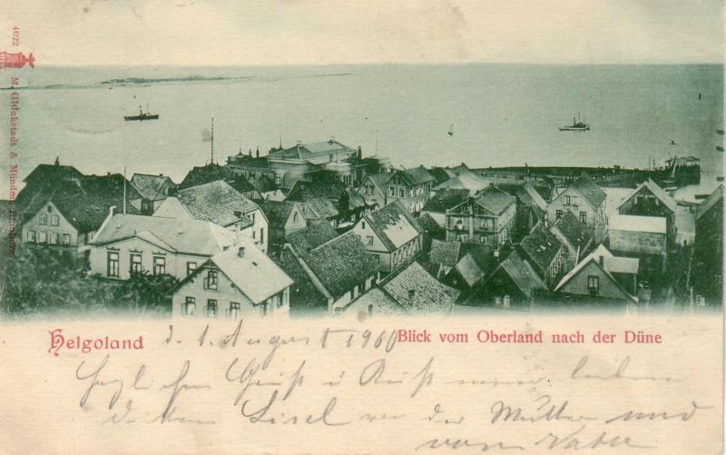 Ak Helgoland Blick vom Oberland nach der Düne gel 1900 Litho