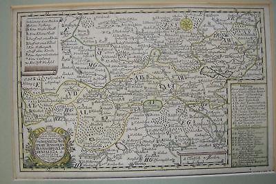 Chursächsische Ämter Schreiber kolor Orig Kupferstichkarte 1750 Schreiber