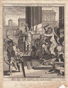 Saul wirft seinen Speer auf David Samuel Bibel Orig Kupferstich 1710