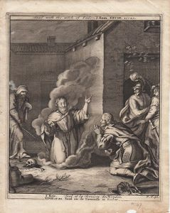 Saul mit Totenbeschwörerin Endor Samuel Bibel Orig Kupferstich 1710