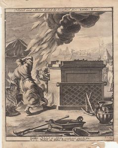 Nadab und Abihu vom Himmelsfeuer getötet Leviticus Bibel Orig Kupferstich 1710