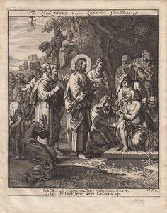 Jesus erweckt Lazarus von den Toten Johannes Bibel Orig Kupferstich 1710