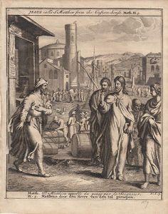 Jesus ruft Matthäus aus dem Zollhaus Bibel Orig Kupferstich 1710
