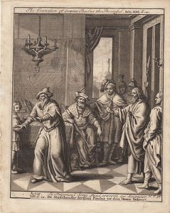 Bekehrung Sergius Paulus Prokonsul Actor Bibel Orig Kupferstich 1710
