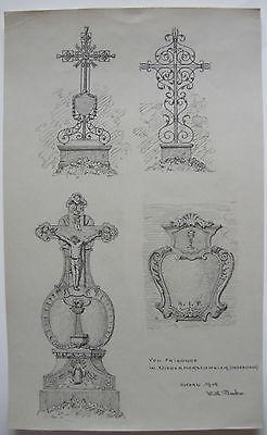 Grabkreuze Friedhof Niedermorschweier Elsass Orig Zeichnung 1915 signiert