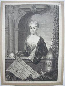 Anna S. Winckler Leipziger Bürgerin Gedenkportrait Kupferstich Rosbach 1725
