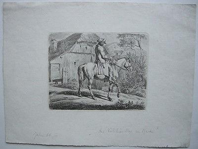 Johann Adam Klein (1792-1875) Viehhändler zu Pferd Orig Radierung 1811