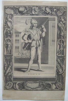 Dirk IV. Graf Holland (1020-1049)  Portrait Orig Kupferstich 1730 Niederlande