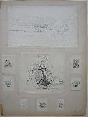 E. Rigby, Lady Eastlake (1809-1893) Neckartal Heidelberg Orig Zeichnung 1827