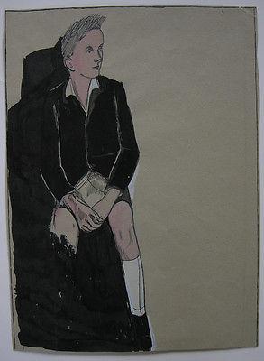 Egon Krause (XIX/XX. Jh.) Entwurf Simplicissimus Sitzender Junge Tuschzeich 1925