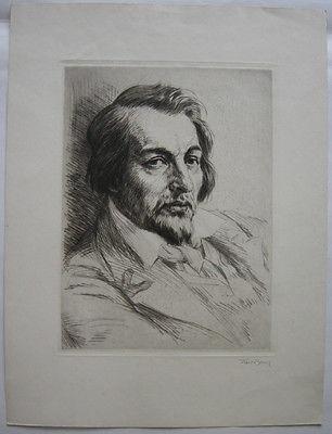 Karl Bauer (1868-1942) Portrait Heinrich Heine Orig. Radierung 1910 signiert