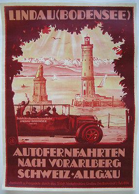Werbeplakat Lindau Bodensee Autofernfahrten Orig Lithografie Hans Merz 1925