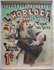 Plakat affiche L'Horloge Champs Elysées Jules Cheret Lithographie 1895