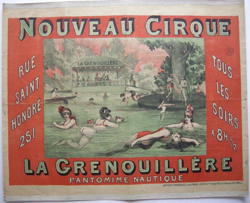 Plakat affiche Nouveau Cirque La Grenouillere Orig Lithografie 1890 Zirkus