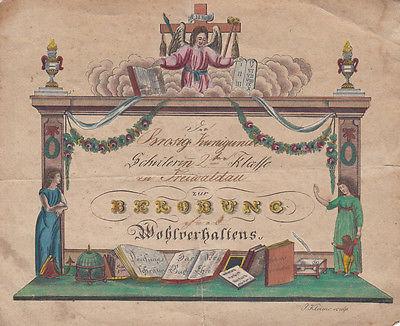 Schülerin Kunigunde Brosig Freiwaldau zur Belobung kolor Kupferstich 1800