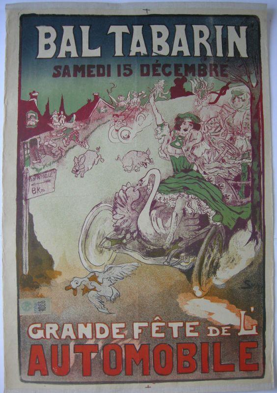 Plakat affiche Bal Tabarin Lithografie Smiley entoilé 1905 Fete de l'Automobile
