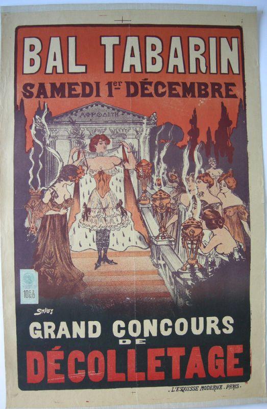 Plakat affiche Bal Tabarin Lithografie Smiley entoilé 1905 Concour Decolletage
